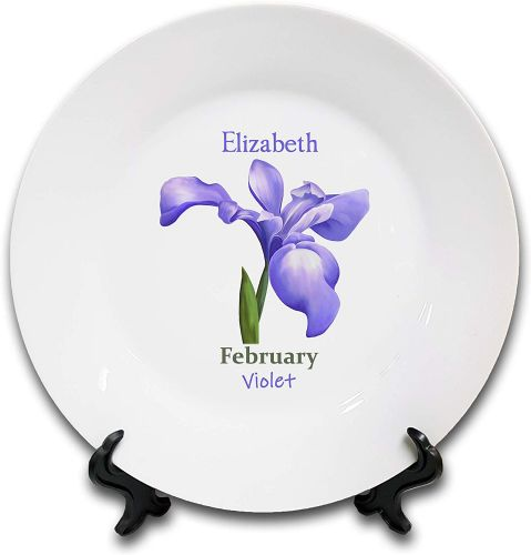 Personalised Flower of The Month February Novelty Gift Ceramic Plate & Stand
